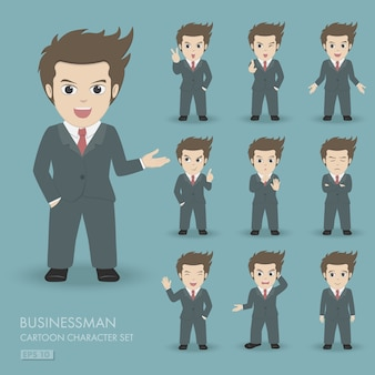 Businessman cartoon character set 10 poses with different emotion.