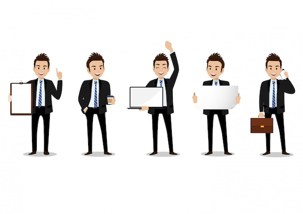 Businessman cartoon character, set of four poses. handsome man in office style smart suit