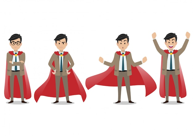 Businessman cartoon character, set of four poses