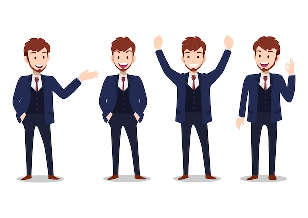 Businessman cartoon character, set of four poses