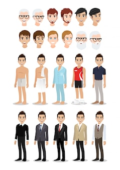 Businessman cartoon character set. handsome business man in his lifestyle.