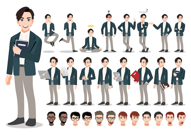 사업가 만화 문자 집합입니다. 오피스 스타일 스마트 정장에 잘 생긴 사업가입니다. 삽화