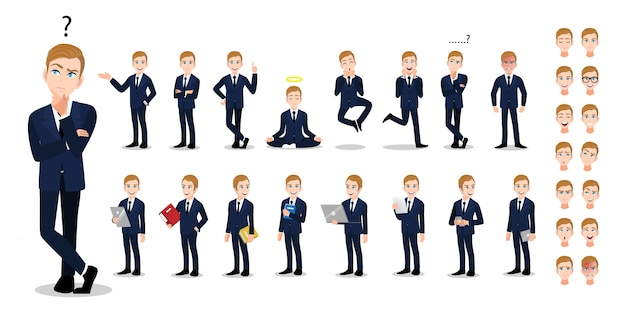 Businessman cartoon character set. handsome business man in office style smart suit.