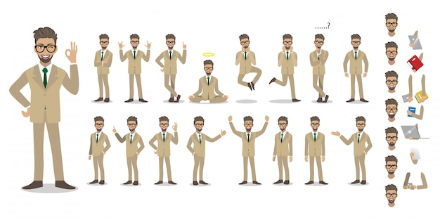 Businessman cartoon character set. handsome businessman in office style smart suit.