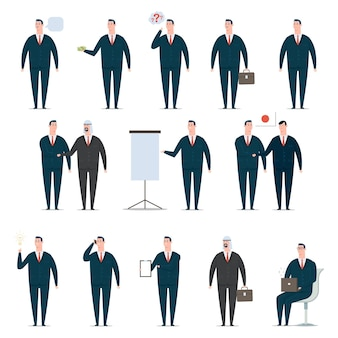 Businessman cartoon character set. office man worker in suit. vector design of flat people in presentation poses isolated.