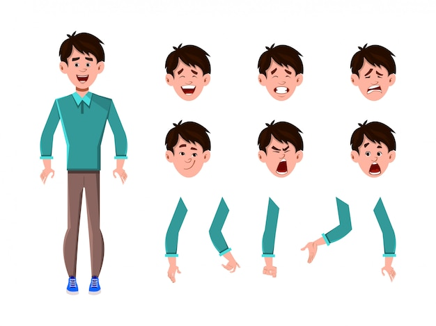 Businessman cartoon character set for your animation, design or motion with different facial