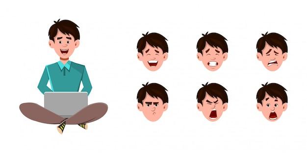 実業家の漫画のキャラクターが床に座って、作業またはラップトップでリラックス