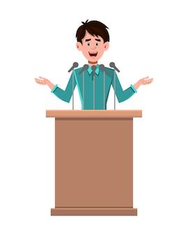 ビジネスマンの漫画のキャラクターのスピーカーが表彰台の後ろに立ち、話す