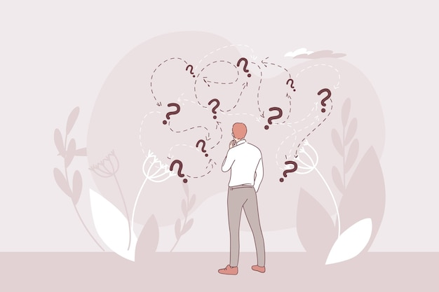 사업가 만화 캐릭터 서 및 질문 딜레마 상황에 대한 올바른 솔루션 방향