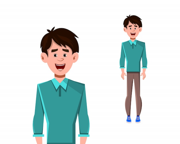 Businessman cartoon character standing pose vector illustration for your design