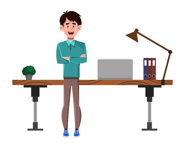 Businessman cartoon character stands near his table or workplace