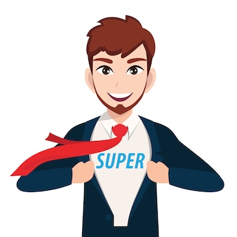 Businessman cartoon character with super manager or superhero