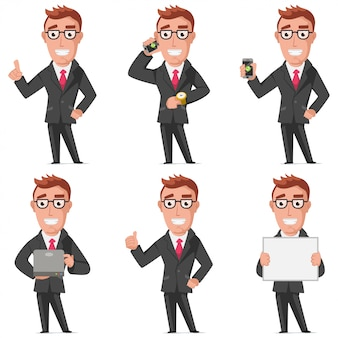 Businessman cartoon characters set isolated on white
