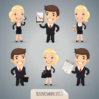Businessman cartoon characters set