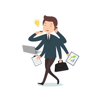 Businessman cartoon do multitask work