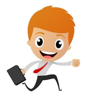Businessman cartoon running to work