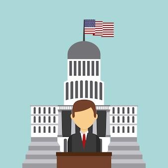 Businessman cartoon over white house of usa
