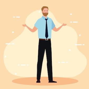 ネクタイのデザイン、ビジネス、管理をテーマにしたビジネスマンの漫画