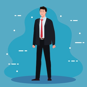 Businessman cartoon with suit design, business and management theme