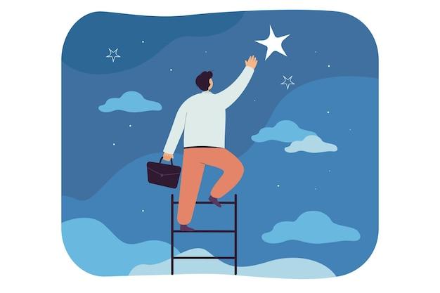 Uomo d'affari che cattura la stella, scala la scala verso il cielo