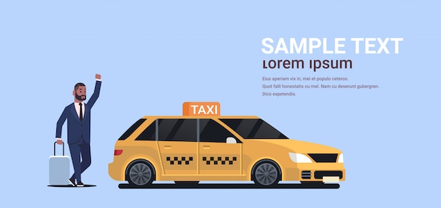 Businessman catching taxi on street   business man with luggage stopping yellow cab city transportation service concept copy space full length  horizontal