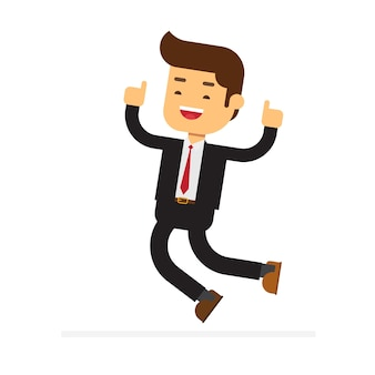 ビジネスマンはジャンプを祝う