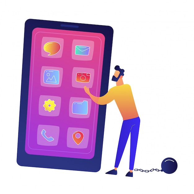Businessman chained to huge smartphone vector illustration.