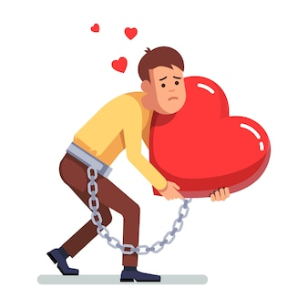 Businessman chained to heart