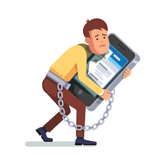Businessman chained to smartphone