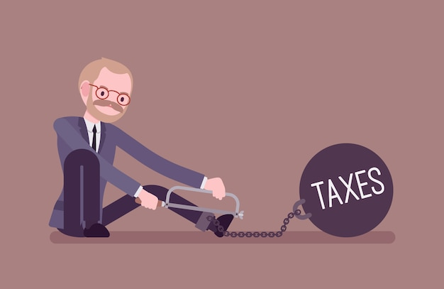 Businessman chained with a metall weight taxes, sawing
