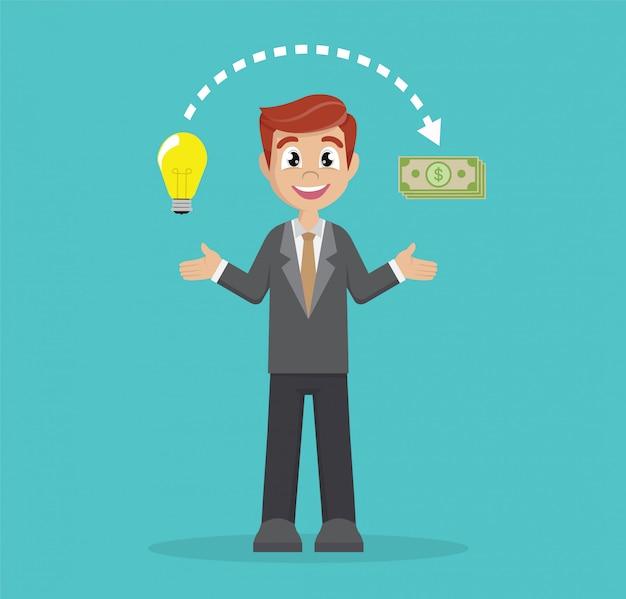 Businessman change ideas into money.