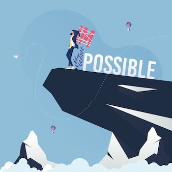 Businessman change word impossible to possible