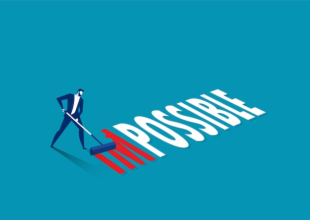 Businessman changing the word impossible to possible with red color blue background