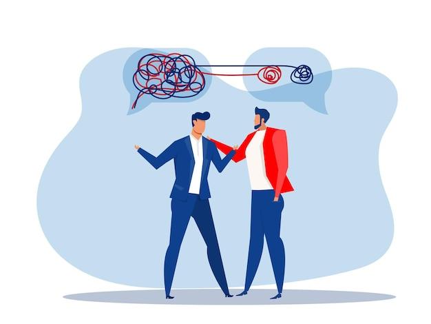 도움 정신 건강 또는 심리 치료 공감 벡터 평면 일러스트와 함께 사업가 혼돈