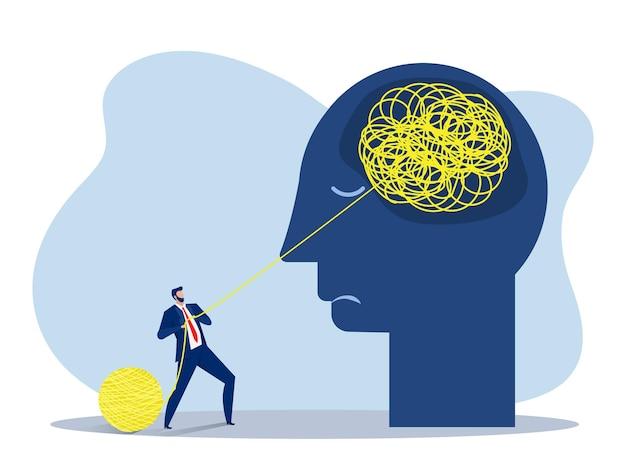 도움, 정신 건강 또는 심리 치료, 정신 분열증 개념, 인지 함정, 의사 소통 또는 공감, 벡터 평면 그림으로 사업가 혼란