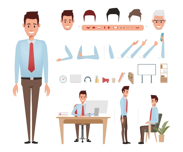 Businessman character for animation mouth.