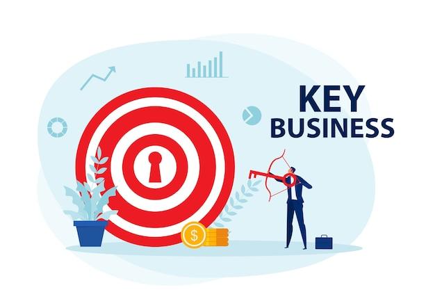 ビジネスマンのキャラクターアーチェリー射撃は、主要なビジネスコンセプトをターゲットにしています