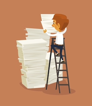 Businessman character and big stack of papers.