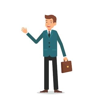 Businessman character cartoon greeting