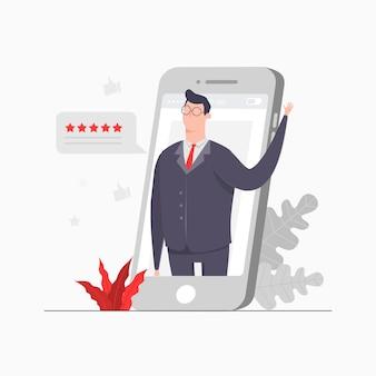 ビジネスマンキャラクターコンセプトイラストガジェットレビューソーシャルメディアの評価
