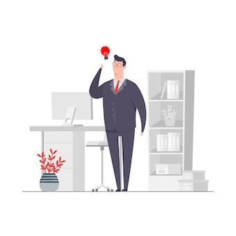 ビジネスマンキャラクターコンセプトイラストアイデア創造性職場オフィス