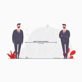 Иллюстрация концепции персонажа предпринимателя держитесь дистанции сохраняйте сохранение пандемии изоляции коронавируса