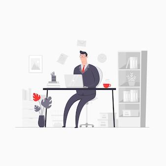 Иллюстрация концепции персонажа бизнесмена, работающая в офисе запуска компании