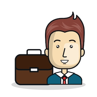 Businessman character flat icon vector illustration design
