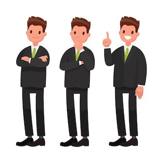 Businessman character. in a flat style Premium Vector