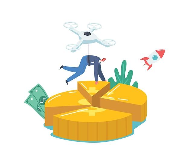 Quadcopter를 타고 날아가는 사업가 캐릭터는 원형 차트의 형태로 황금 동전의 일부를 가져갑니다. 주주 날치기 배당금 이익 부분, 사업 이해 관계자 소득. 만화 벡터 일러스트 레이 션