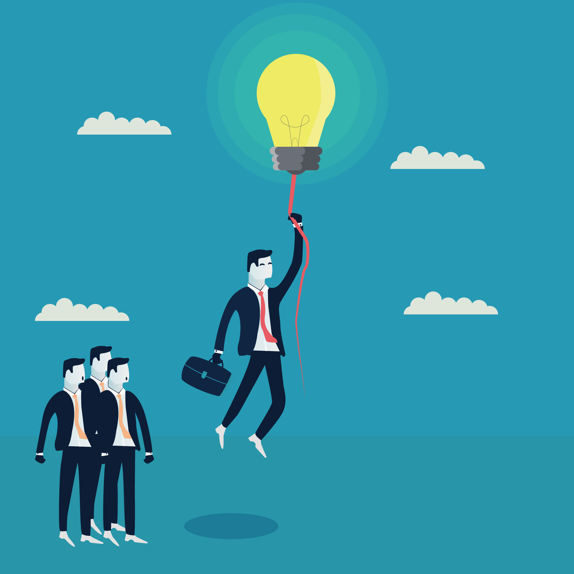 Businessman character flying with a light bulb