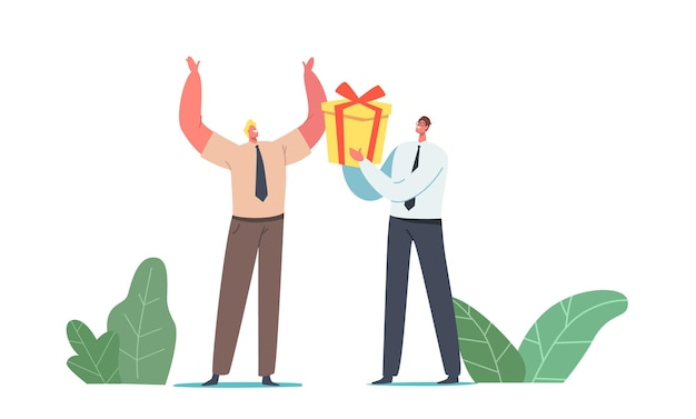 Businessman character giving wrapped gift box to cheerful colleague for birthday or event celebration