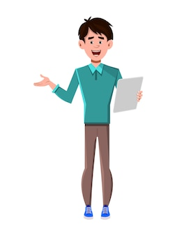 タブレットを押しながら話しているビジネスマンのキャラクター