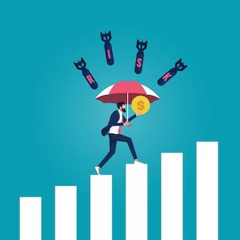 危険な言葉から身とお金を守るために傘を持っているビジネスマンのキャラクター